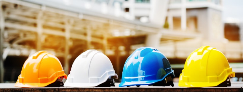 hard hats on construction site