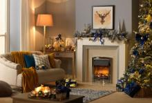 Christmas living room scene with a Dimplex Glencoe fireplace